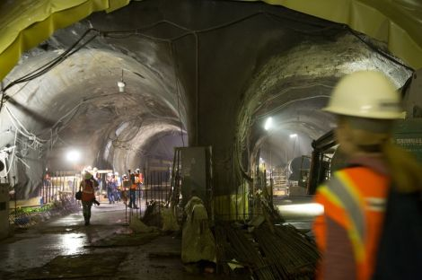 Crews have completed eight miles of train tubes from Queens under the East River.  (Amy Pearl/WNYC)